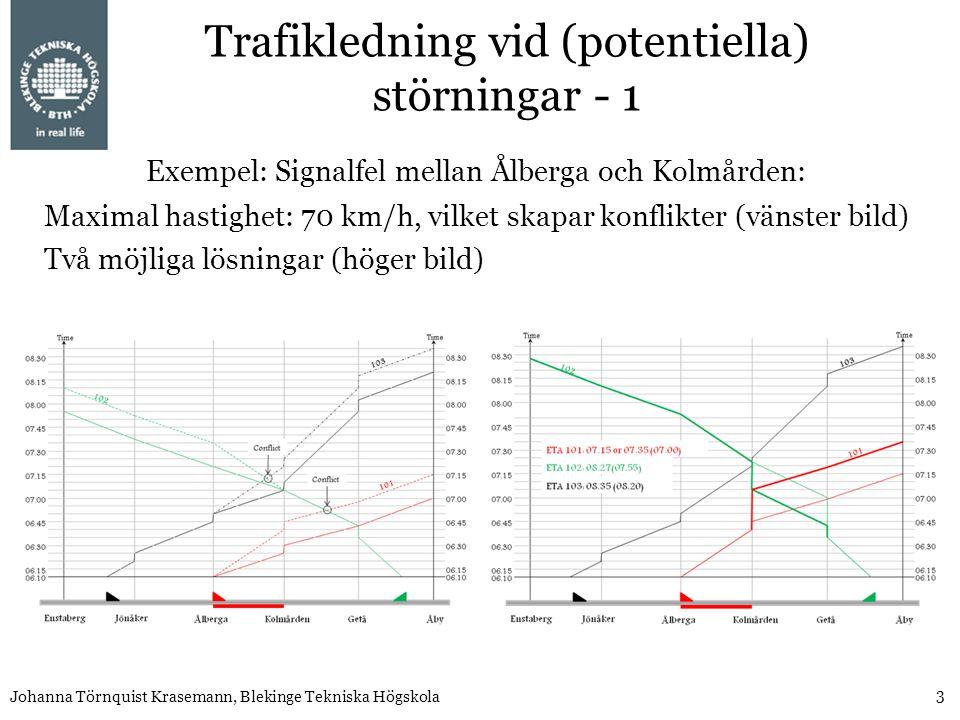 3 Johanna Törnquist Krasemann, Blekinge Tekniska Högskola Maximal hastighet: 70 km/h, vilket skapar konflikter (vänster bild) Två möjliga lösningar (höger bild) Exempel: Signalfel mellan Ålberga och Kolmården: Trafikledning vid (potentiella) störningar - 1