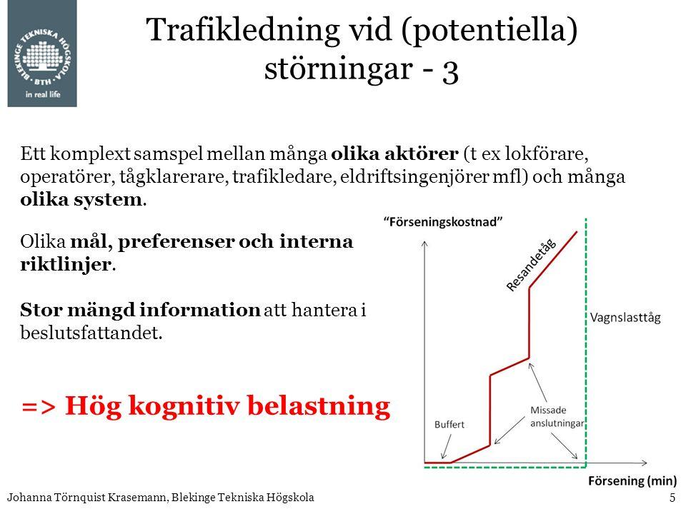 5 Johanna Törnquist Krasemann, Blekinge Tekniska Högskola Ett komplext samspel mellan många olika aktörer (t ex lokförare, operatörer, tågklarerare, trafikledare, eldriftsingenjörer mfl) och många olika system.