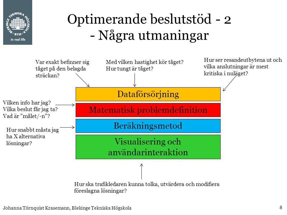 8 Johanna Törnquist Krasemann, Blekinge Tekniska Högskola Optimerande beslutstöd - 2 - Några utmaningar Dataförsörjning Matematisk problemdefinition Beräkningsmetod Visualisering och användarinteraktion Var exakt befinner sig tåget på den belagda sträckan.