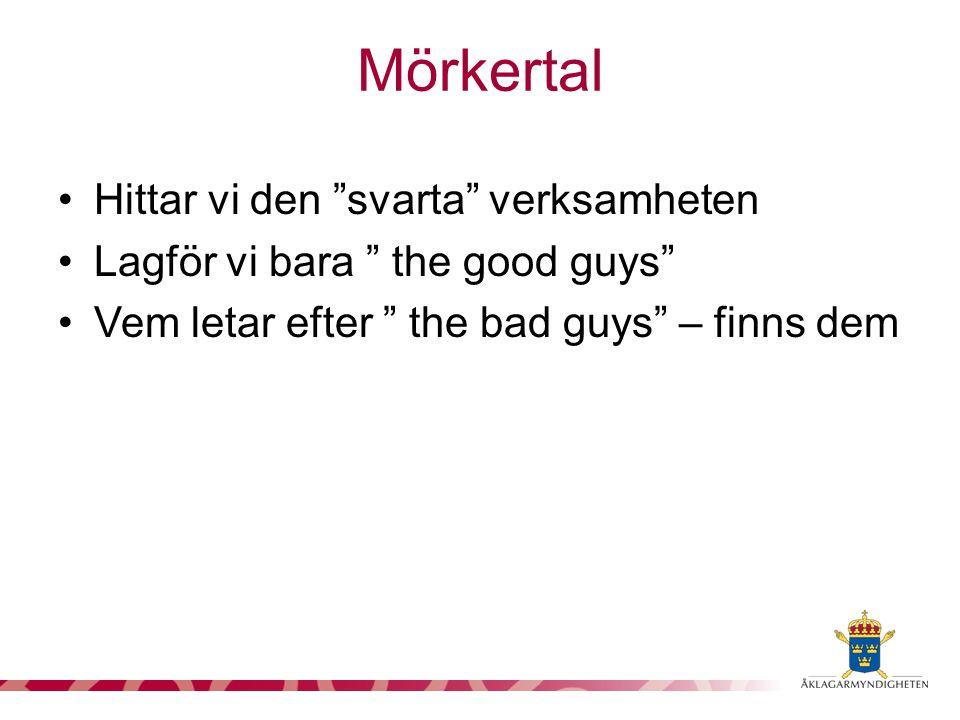 """Mörkertal Hittar vi den """"svarta"""" verksamheten Lagför vi bara """" the good guys"""" Vem letar efter """" the bad guys"""" – finns dem"""