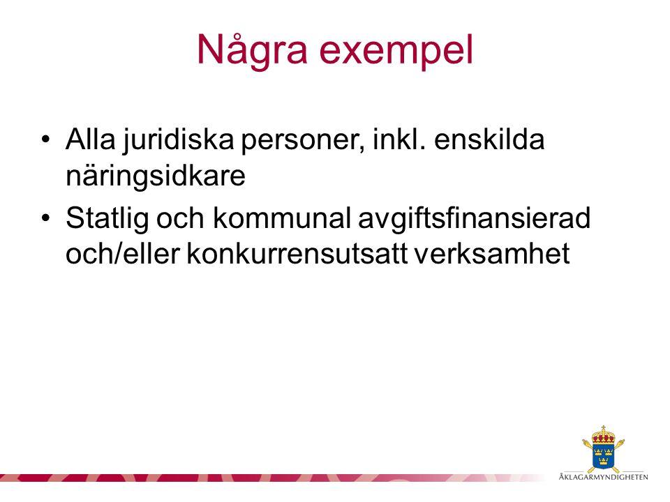 Alla juridiska personer, inkl. enskilda näringsidkare Statlig och kommunal avgiftsfinansierad och/eller konkurrensutsatt verksamhet Några exempel