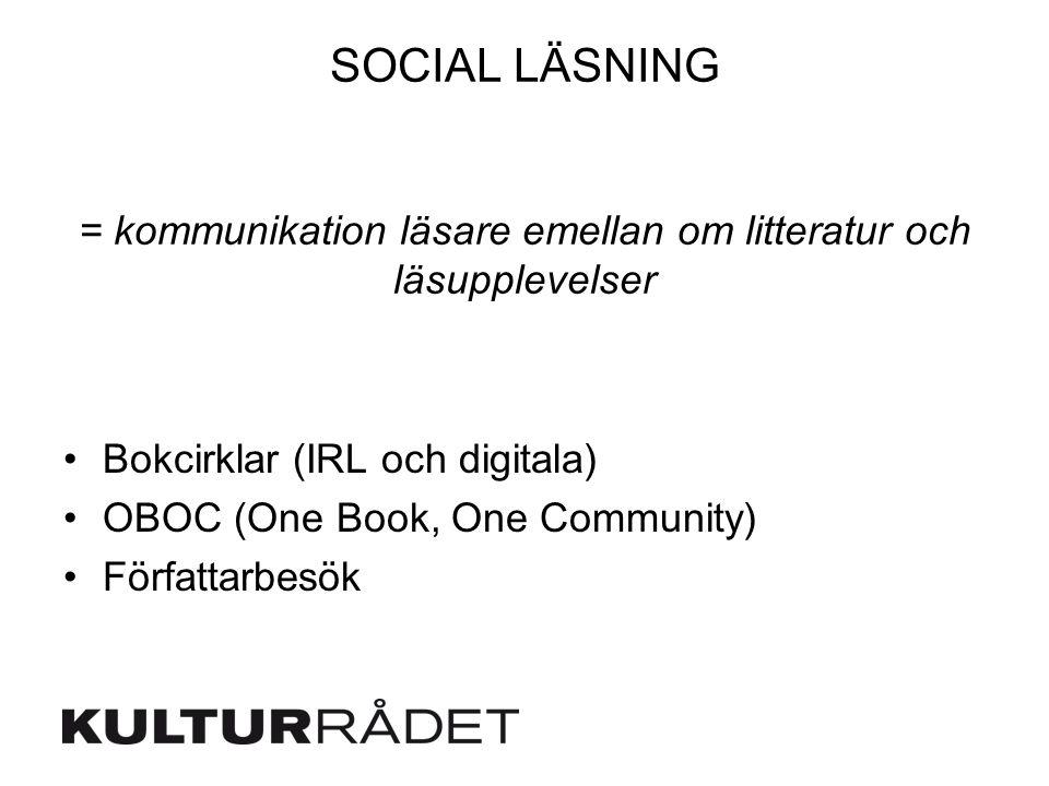SOCIAL LÄSNING = kommunikation läsare emellan om litteratur och läsupplevelser Bokcirklar (IRL och digitala) OBOC (One Book, One Community) Författarb