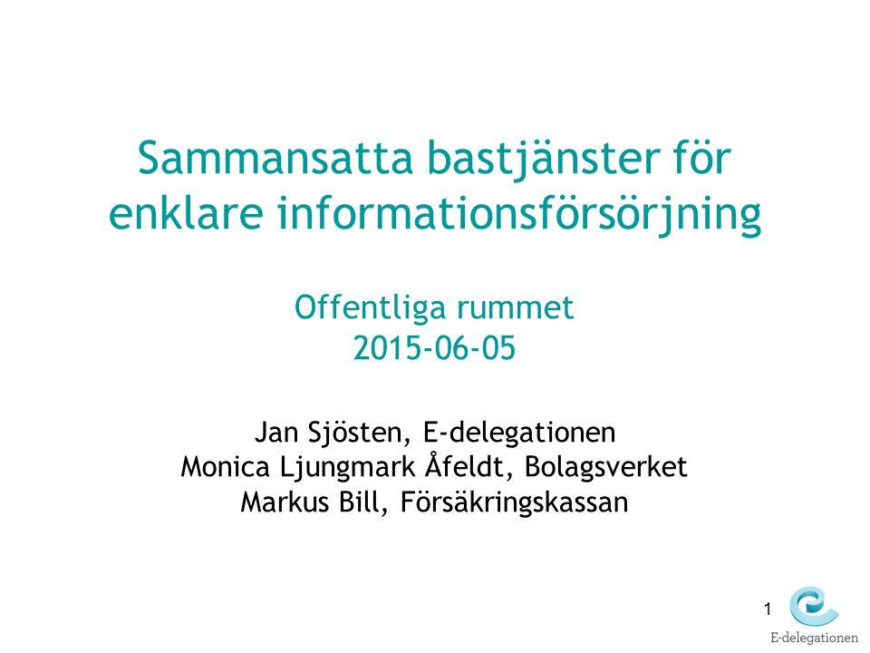 1 Sammansatta bastjänster för enklare informationsförsörjning Offentliga rummet 2015-06-05 Jan Sjösten, E-delegationen Monica Ljungmark Åfeldt, Bolags