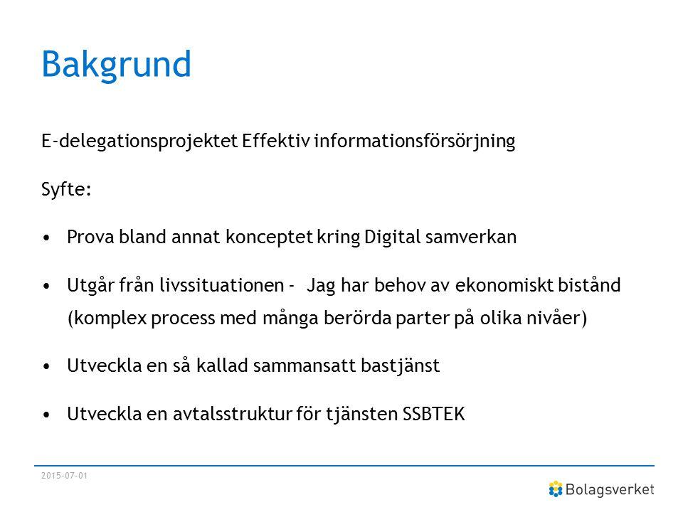 Bakgrund E-delegationsprojektet Effektiv informationsförsörjning Syfte: Prova bland annat konceptet kring Digital samverkan Utgår från livssituationen