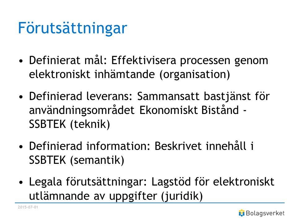 Förutsättningar Definierat mål: Effektivisera processen genom elektroniskt inhämtande (organisation) Definierad leverans: Sammansatt bastjänst för anv