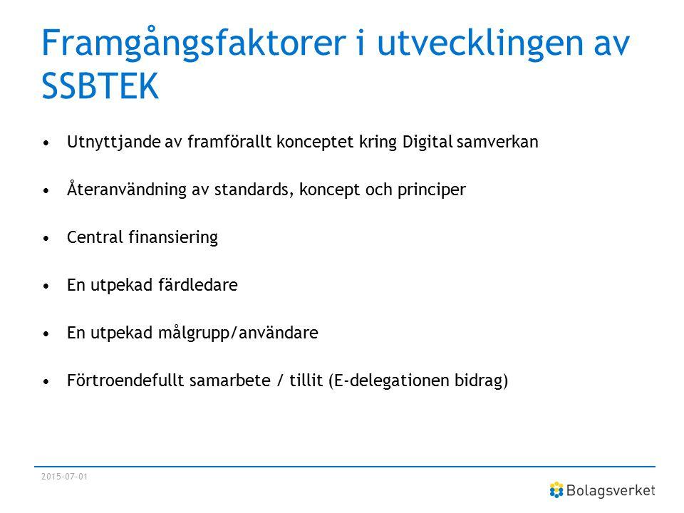 Framgångsfaktorer i utvecklingen av SSBTEK Utnyttjande av framförallt konceptet kring Digital samverkan Återanvändning av standards, koncept och princ