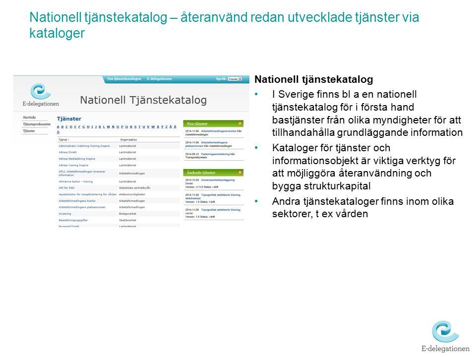 Nationell tjänstekatalog – återanvänd redan utvecklade tjänster via kataloger Nationell tjänstekatalog I Sverige finns bl a en nationell tjänstekatalo