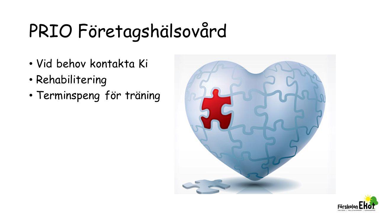 PRIO Företagshälsovård Vid behov kontakta Ki Rehabilitering Terminspeng för träning