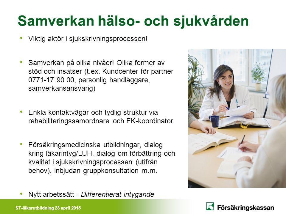 ST-läkarutbildning 23 april 2015 Samverkan hälso- och sjukvården Viktig aktör i sjukskrivningsprocessen! Samverkan på olika nivåer! Olika former av st