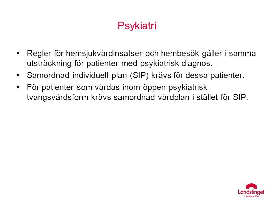 Psykiatri Regler för hemsjukvårdinsatser och hembesök gäller i samma utsträckning för patienter med psykiatrisk diagnos. Samordnad individuell plan (S