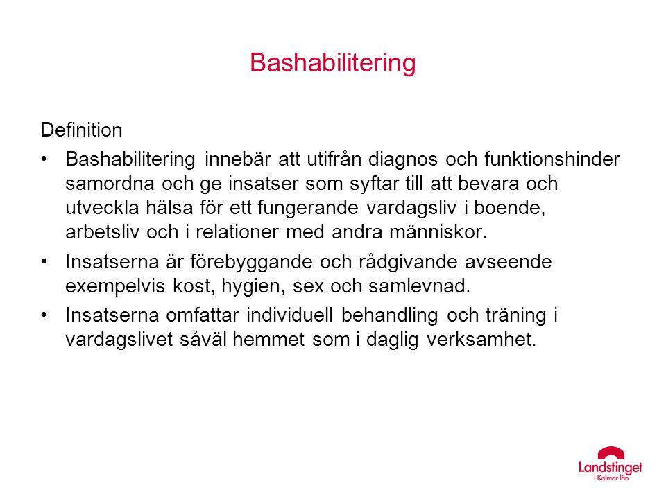 Bashabilitering Definition Bashabilitering innebär att utifrån diagnos och funktionshinder samordna och ge insatser som syftar till att bevara och utv