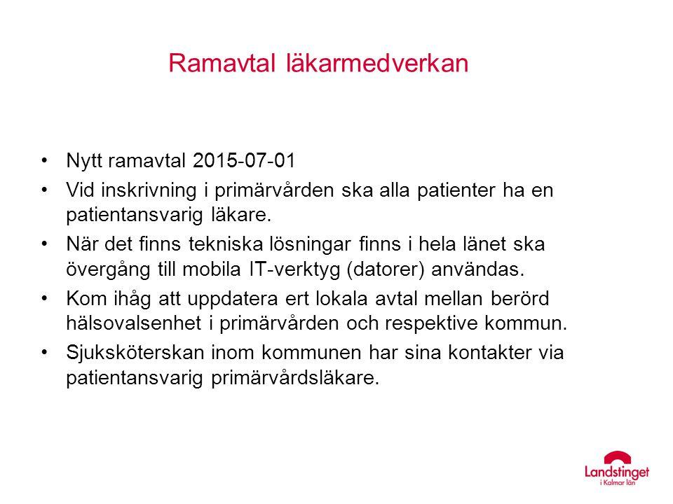 Ramavtal läkarmedverkan Nytt ramavtal 2015-07-01 Vid inskrivning i primärvården ska alla patienter ha en patientansvarig läkare. När det finns teknisk