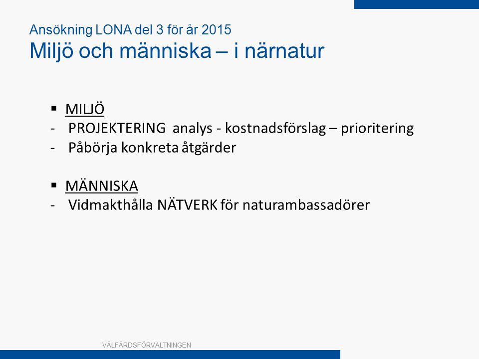 Ansökning LONA del 3 för år 2015 Miljö och människa – i närnatur VÄLFÄRDSFÖRVALTNINGEN  MILJÖ -PROJEKTERING analys - kostnadsförslag – prioritering -Påbörja konkreta åtgärder  MÄNNISKA -Vidmakthålla NÄTVERK för naturambassadörer
