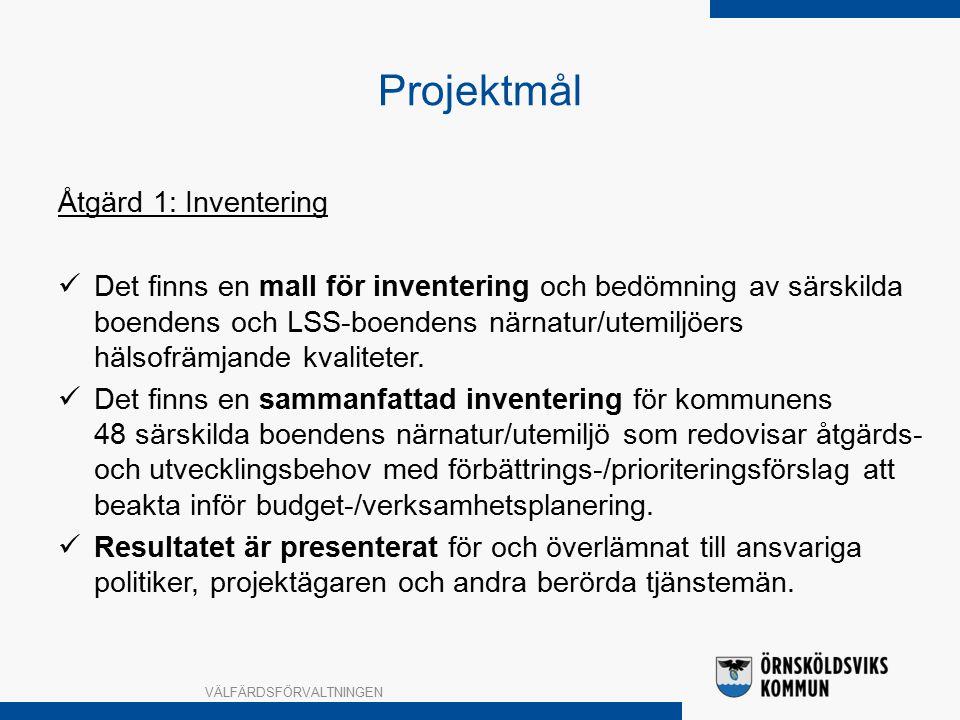 Projektmål Åtgärd 1: Inventering Det finns en mall för inventering och bedömning av särskilda boendens och LSS-boendens närnatur/utemiljöers hälsofrämjande kvaliteter.