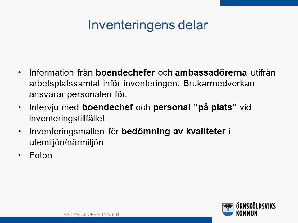 Information från boendechefer och ambassadörerna utifrån arbetsplatssamtal inför inventeringen.