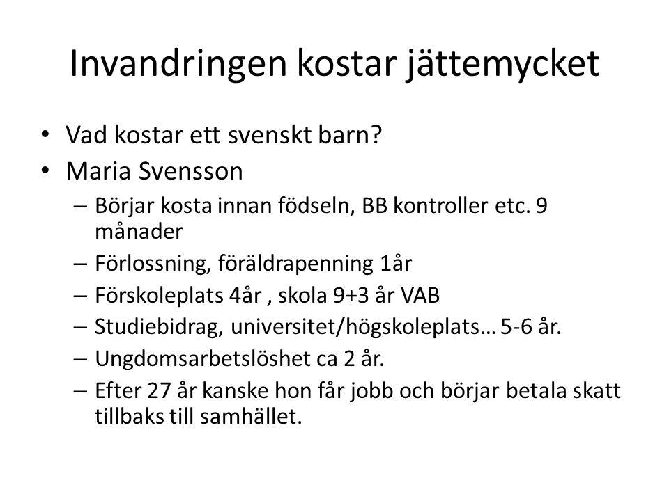 Invandringen kostar jättemycket Vad kostar ett svenskt barn.
