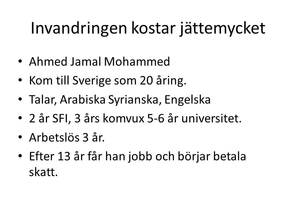 Invandringen kostar jättemycket Ahmed Jamal Mohammed Kom till Sverige som 20 åring.