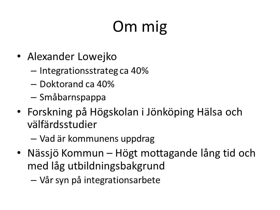 Om mig Alexander Lowejko – Integrationsstrateg ca 40% – Doktorand ca 40% – Småbarnspappa Forskning på Högskolan i Jönköping Hälsa och välfärdsstudier – Vad är kommunens uppdrag Nässjö Kommun – Högt mottagande lång tid och med låg utbildningsbakgrund – Vår syn på integrationsarbete