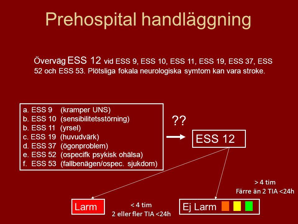 Prehospital handläggning a. ESS 9 (kramper UNS) b. ESS 10 (sensibilitetsstörning) b. ESS 11 (yrsel) c. ESS 19 (huvudvärk) d. ESS 37 (ögonproblem) e. E