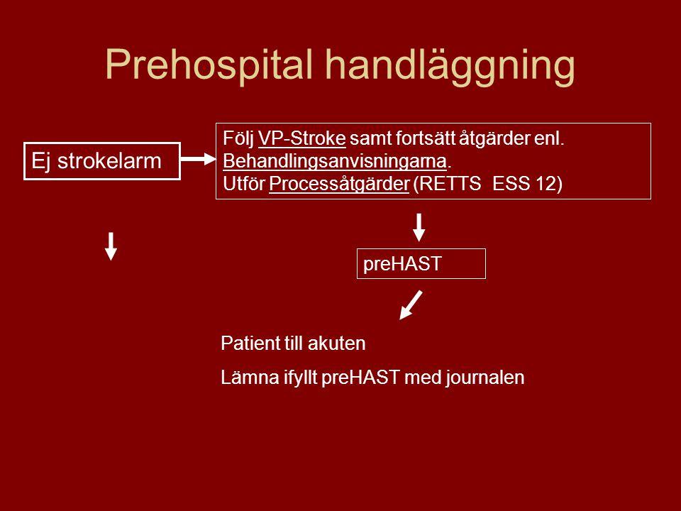 Prehospital handläggning Följ VP-Stroke samt fortsätt åtgärder enl. Behandlingsanvisningarna. Utför Processåtgärder (RETTS ESS 12) Patient till akuten
