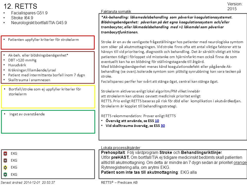 12. RETTS Facialispares G51.9 Stroke I64.9 Neurologiskt bortfall/TIA G45.9 Patienten uppfyller kriterier för strokelarm Ak-beh. eller blödningsbenägen