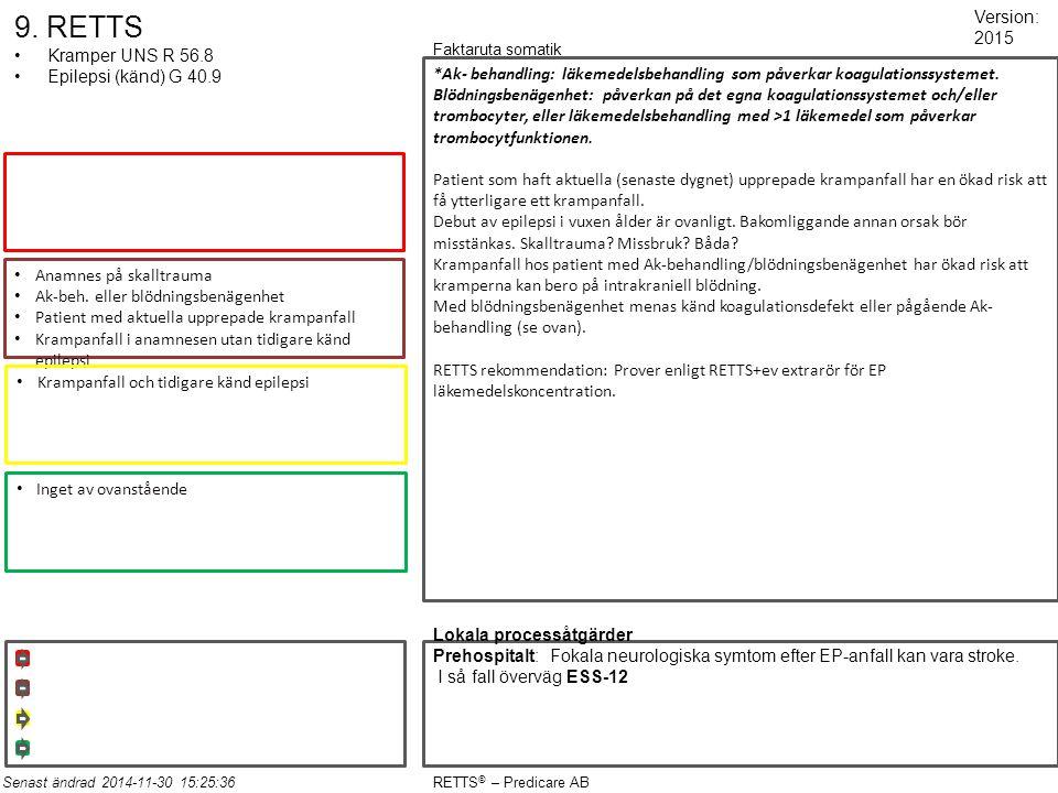 9. RETTS Kramper UNS R 56.8 Epilepsi (känd) G 40.9 Anamnes på skalltrauma Ak-beh. eller blödningsbenägenhet Patient med aktuella upprepade krampanfall