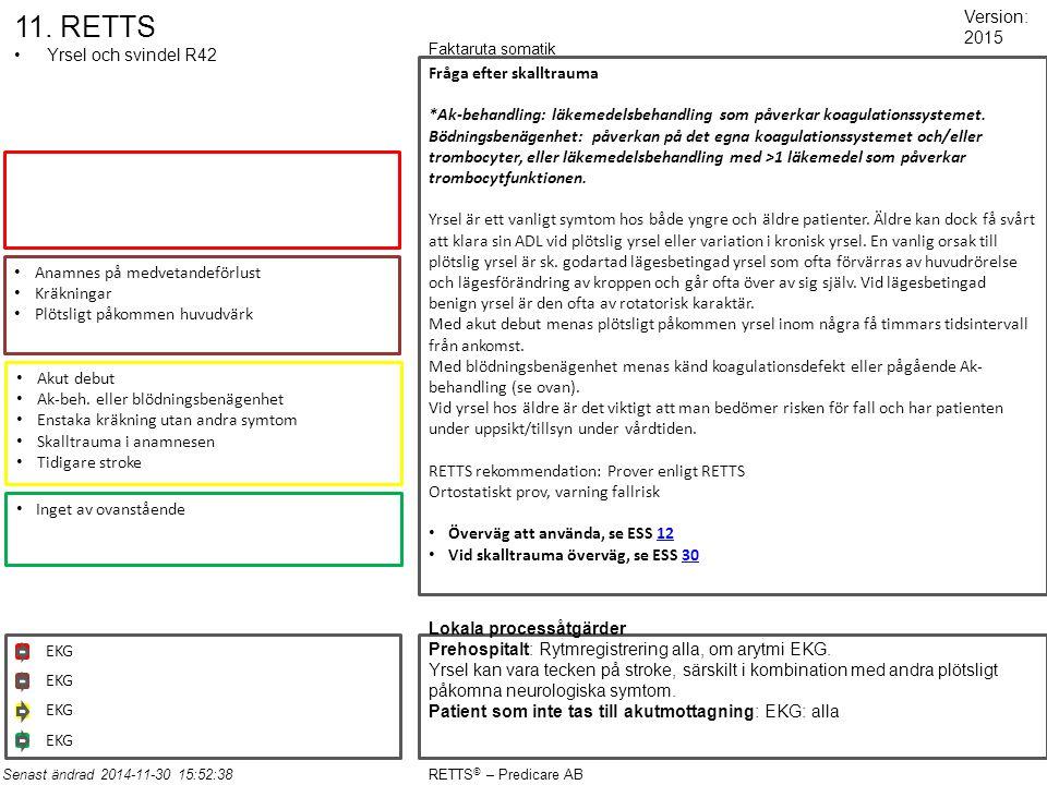11. RETTS Yrsel och svindel R42 Anamnes på medvetandeförlust Kräkningar Plötsligt påkommen huvudvärk Akut debut Ak-beh. eller blödningsbenägenhet Enst