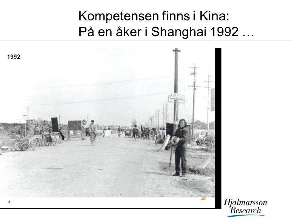 Kompetensen finns i Kina: På en åker i Shanghai 1992 …