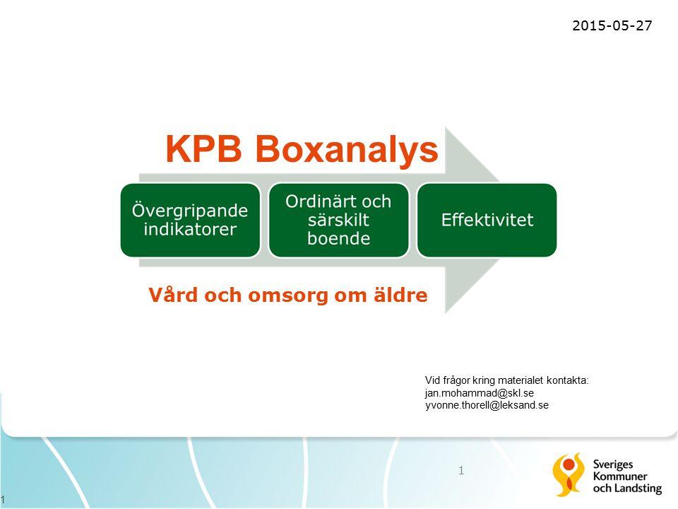 1 Vid frågor kring materialet kontakta: jan.mohammad@skl.se yvonne.thorell@leksand.se KPB Boxanalys 2015-05-27 1 Vård och omsorg om äldre