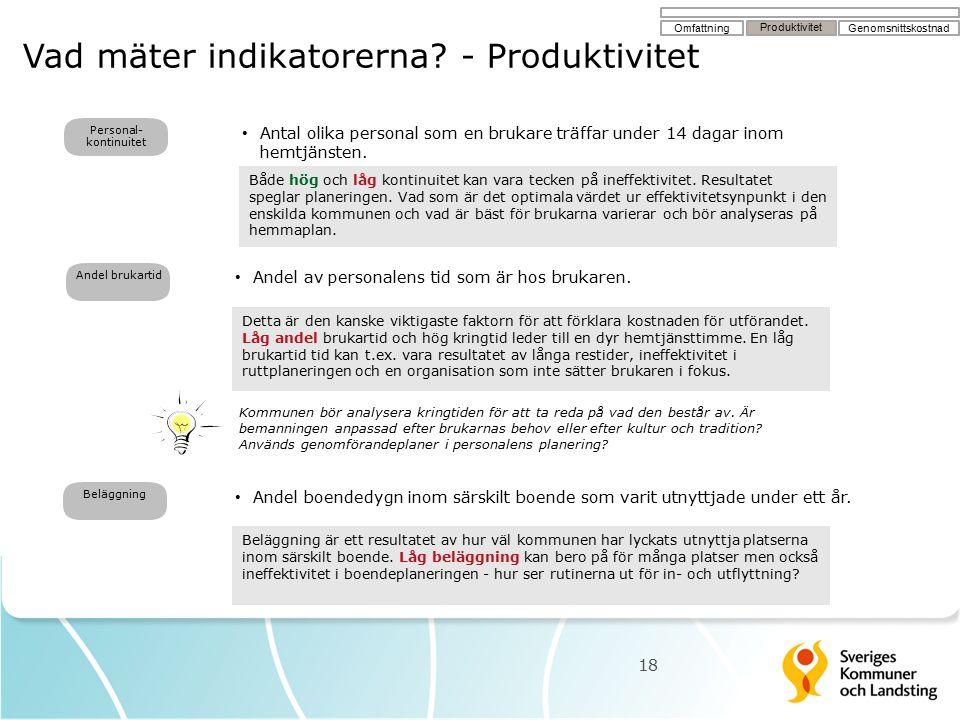 Vad mäter indikatorerna? - Produktivitet 18 Andel brukartid Personal- kontinuitet Antal olika personal som en brukare träffar under 14 dagar inom hemt
