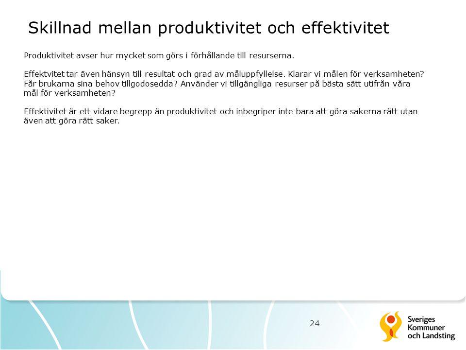 Skillnad mellan produktivitet och effektivitet 24 Produktivitet avser hur mycket som görs i förhållande till resurserna. Effektvitet tar även hänsyn t