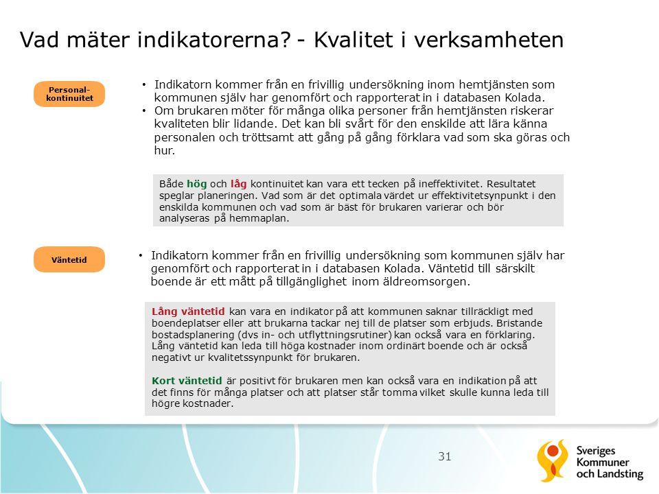 Vad mäter indikatorerna? - Kvalitet i verksamheten Indikatorn kommer från en frivillig undersökning inom hemtjänsten som kommunen själv har genomfört