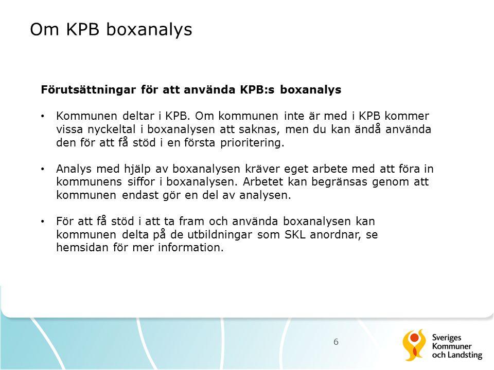 Om KPB boxanalys 6 Förutsättningar för att använda KPB:s boxanalys Kommunen deltar i KPB. Om kommunen inte är med i KPB kommer vissa nyckeltal i boxan