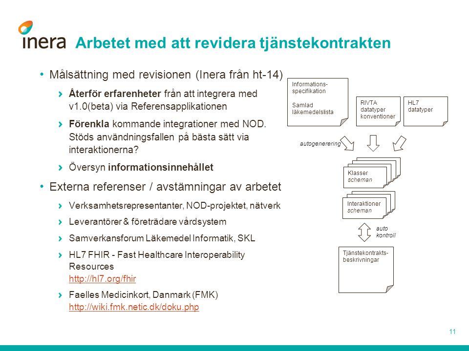 Arbetet med att revidera tjänstekontrakten Målsättning med revisionen (Inera från ht-14) Återför erfarenheter från att integrera med v1.0(beta) via Re