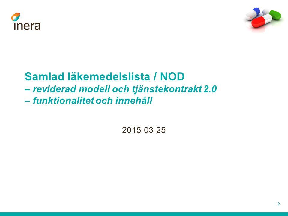 Samlad läkemedelslista / NOD – reviderad modell och tjänstekontrakt 2.0 – funktionalitet och innehåll 2015-03-25 2