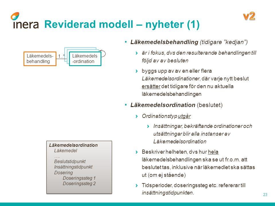 """Reviderad modell – nyheter (1) 23 Läkemedels- behandling Läkemedels -ordination Läkemedelsbehandling (tidigare """"kedjan"""") är i fokus, dvs den resultera"""