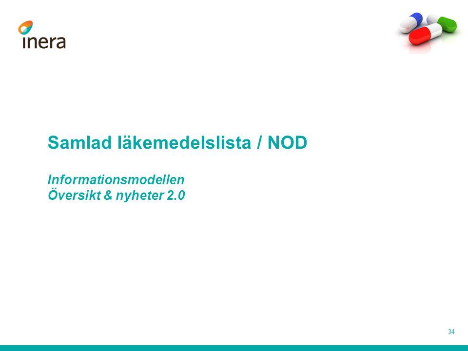 Samlad läkemedelslista / NOD Informationsmodellen Översikt & nyheter 2.0 34
