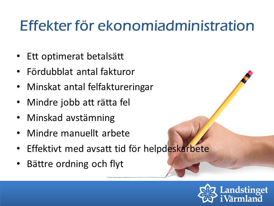 Effekter för ekonomiadministration Ett optimerat betalsätt Fördubblat antal fakturor Minskat antal felfaktureringar Mindre jobb att rätta fel Minskad