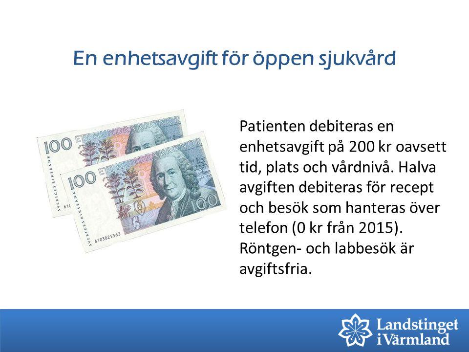 En enhetsavgift för öppen sjukvård Patienten debiteras en enhetsavgift på 200 kr oavsett tid, plats och vårdnivå. Halva avgiften debiteras för recept