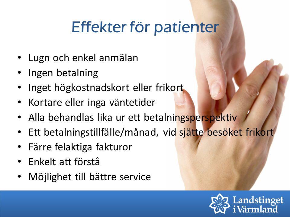 Effekter för patienter Lugn och enkel anmälan Ingen betalning Inget högkostnadskort eller frikort Kortare eller inga väntetider Alla behandlas lika ur