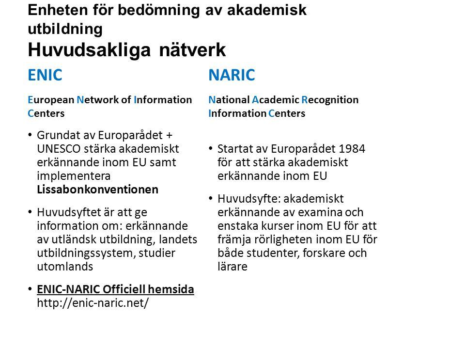 Sv Enheten för bedömning av akademisk utbildning Huvudsakliga nätverk ENIC European Network of Information Centers Grundat av Europarådet + UNESCO stärka akademiskt erkännande inom EU samt implementera Lissabonkonventionen Huvudsyftet är att ge information om: erkännande av utländsk utbildning, landets utbildningssystem, studier utomlands ENIC-NARIC Officiell hemsida http://enic-naric.net/ ENIC-NARIC Officiell hemsida NARIC National Academic Recognition Information Centers Startat av Europarådet 1984 för att stärka akademiskt erkännande inom EU Huvudsyfte: akademiskt erkännande av examina och enstaka kurser inom EU för att främja rörligheten inom EU för både studenter, forskare och lärare