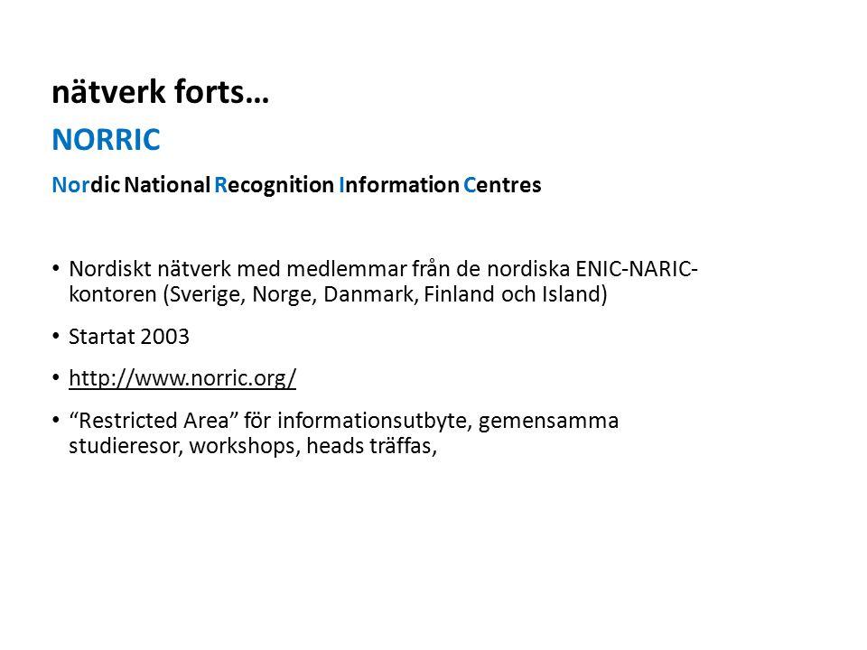 Sv NORRIC Nordic National Recognition Information Centres Nordiskt nätverk med medlemmar från de nordiska ENIC-NARIC- kontoren (Sverige, Norge, Danmark, Finland och Island) Startat 2003 http://www.norric.org/ Restricted Area för informationsutbyte, gemensamma studieresor, workshops, heads träffas, nätverk forts…