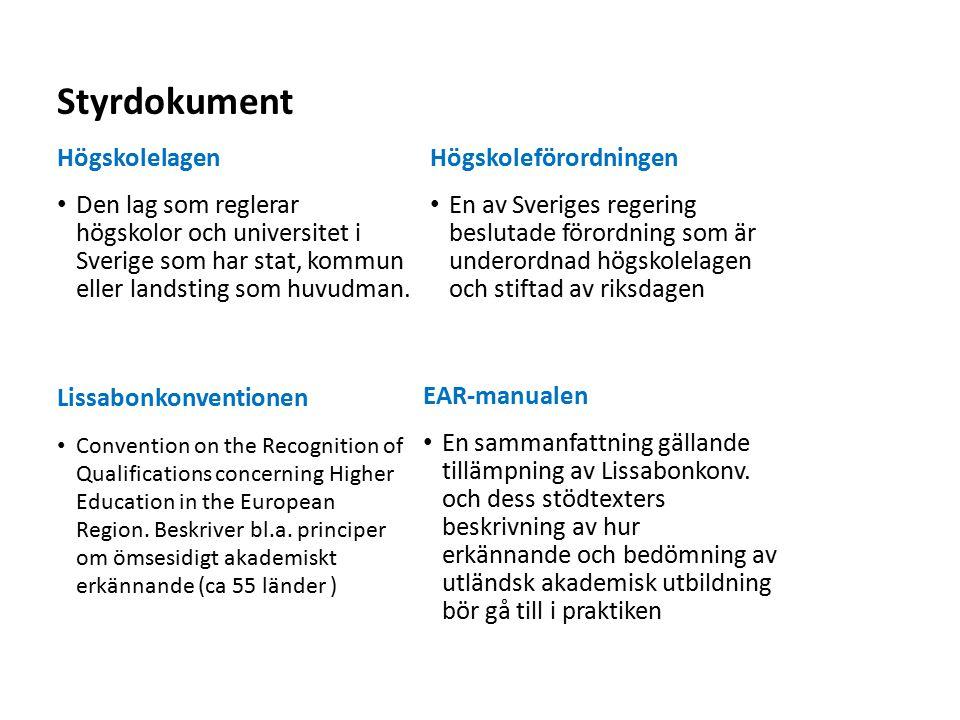 Sv Styrdokument Högskolelagen Den lag som reglerar högskolor och universitet i Sverige som har stat, kommun eller landsting som huvudman.