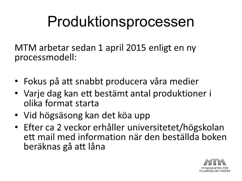 MTM arbetar sedan 1 april 2015 enligt en ny processmodell: Fokus på att snabbt producera våra medier Varje dag kan ett bestämt antal produktioner i olika format starta Vid högsäsong kan det köa upp Efter ca 2 veckor erhåller universitetet/högskolan ett mail med information när den beställda boken beräknas gå att låna Produktionsprocessen