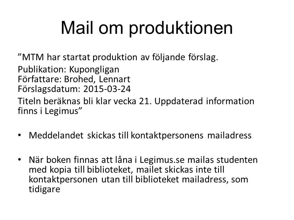"""Mail om produktionen """"MTM har startat produktion av följande förslag. Publikation: Kupongligan Författare: Brohed, Lennart Förslagsdatum: 2015-03-24 T"""