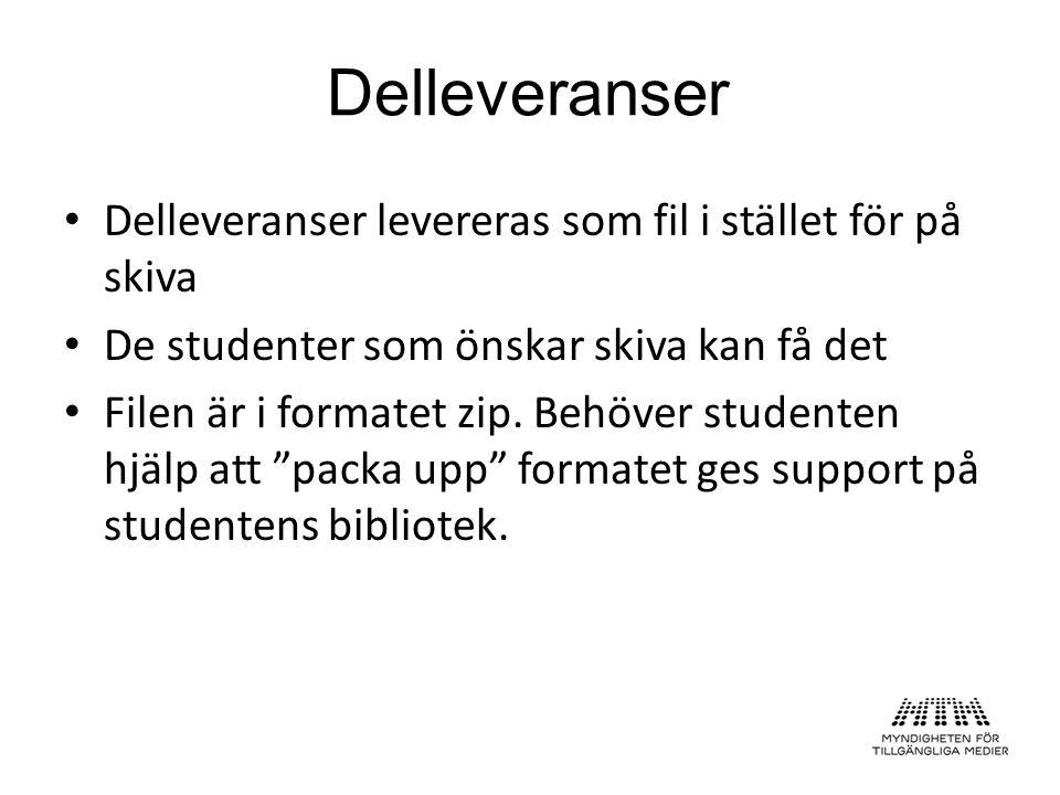 """Delleveranser levereras som fil i stället för på skiva De studenter som önskar skiva kan få det Filen är i formatet zip. Behöver studenten hjälp att """""""