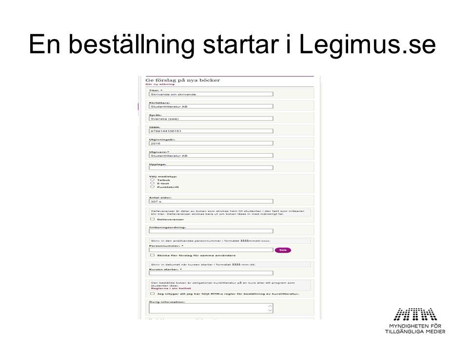 En beställning startar i Legimus.se