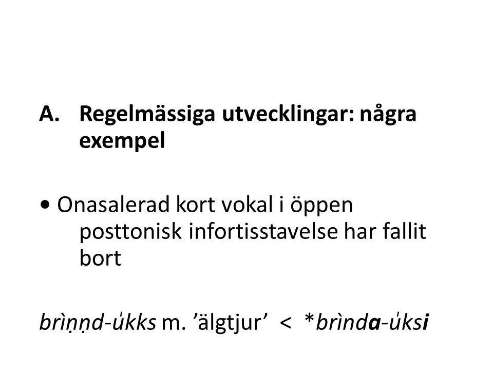 A.Regelmässiga utvecklingar: några exempel Onasalerad kort vokal i öppen posttonisk infortisstavelse har fallit bort brìṇṇd-u̍kks m.