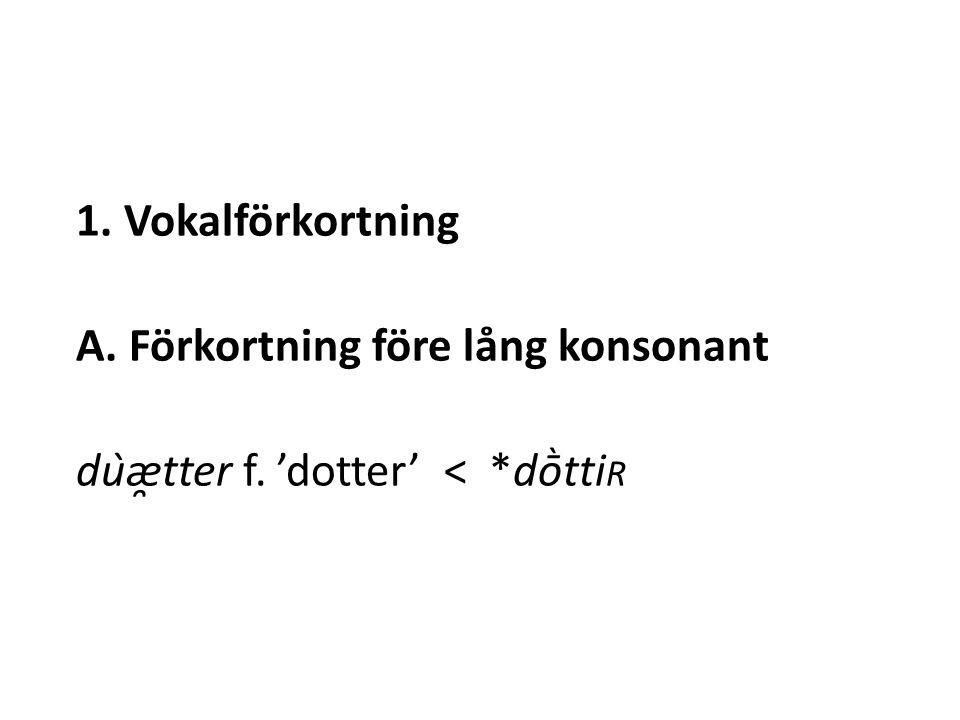 1. Vokalförkortning A. Förkortning före lång konsonant dùæ̯tter f. 'dotter' < *dṑtti R