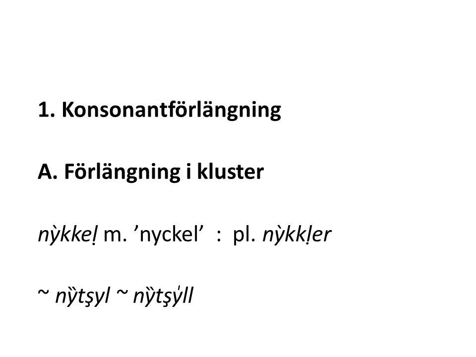 1. Konsonantförlängning A. Förlängning i kluster nỳkkel ̣ m.